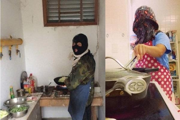 """Các """"đức ông chồng"""" chẳng khác gì nhân vật Ninja khi bước vào bếp trổ tài nấu ăn cho vợ và người yêu ngày Valentine."""
