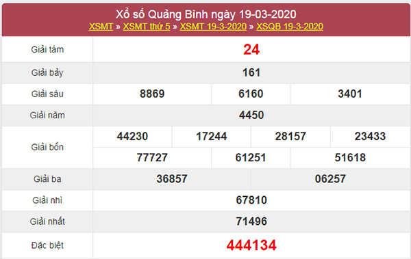 Soi cầu KQXS Quảng Bình 26/3/2020 thứ 5 hôm nay